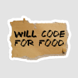 استیکر لپتاپ WILL CODE FOR FOOD - از روبرو