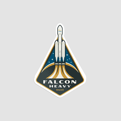 استیکر لپتاپ SpaceX - Falcon Heavy - از روبرو