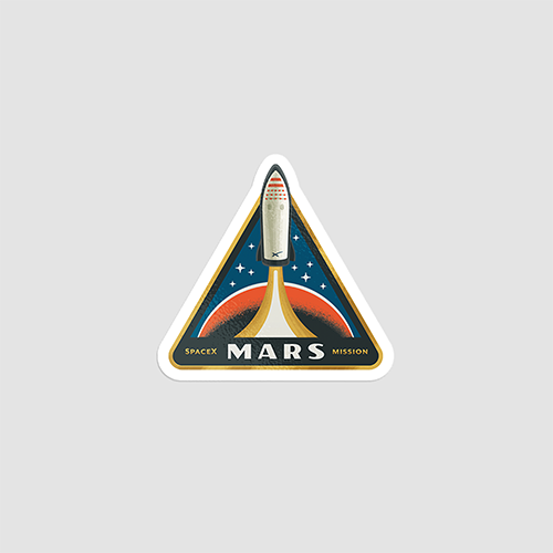 استیکر لپتاپ SpaceX - Mars Mission - از روبرو
