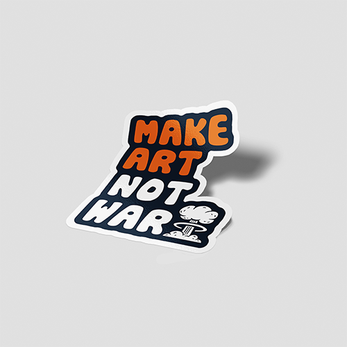 استیکر لپتاپ Make Art Not War - پرسپکتیو